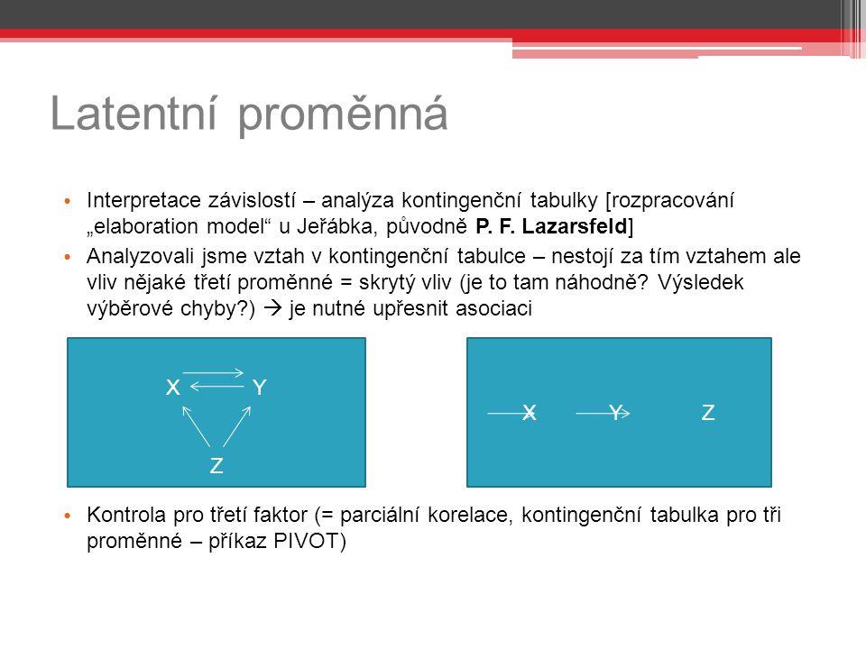 """Latentní proměnná Interpretace závislostí – analýza kontingenční tabulky [rozpracování """"elaboration model u Jeřábka, původně P. F. Lazarsfeld]"""